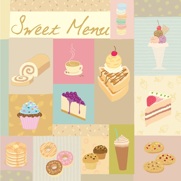 Zoete menu pastel Premium Vector