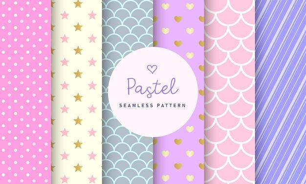 Zoete pastel naadloze patroon collectie. Gratis Vector