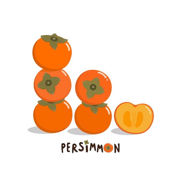 Zoete persimmon vector Premium Vector