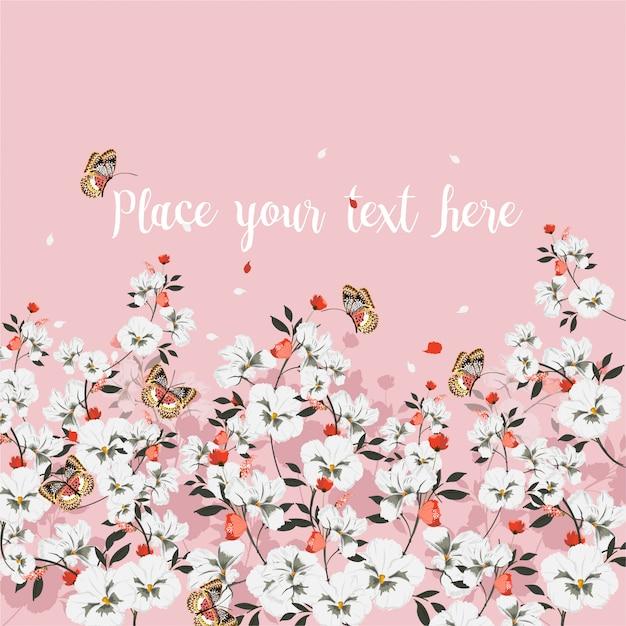 Zoete sfeer van wenskaart met bloeiende bloemen met vlinder. plaats voor uw tekst., wilde bloemen, vectorillustratie Premium Vector