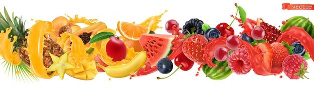 Zoete tropische vruchten en gemengde bessen. Premium Vector