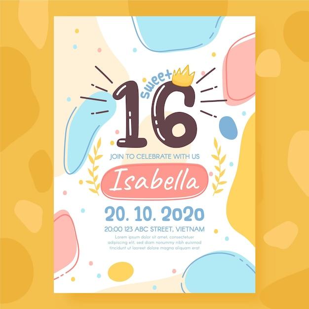 Zoete zestien verjaardagsuitnodiging sjabloon Gratis Vector