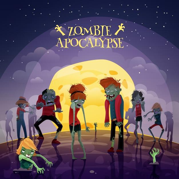 Zombie apocalyps achtergrond Gratis Vector