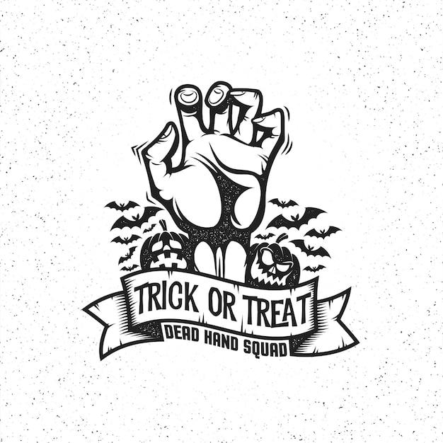 Zombie dode hand op wit. trick or treat op lint Premium Vector