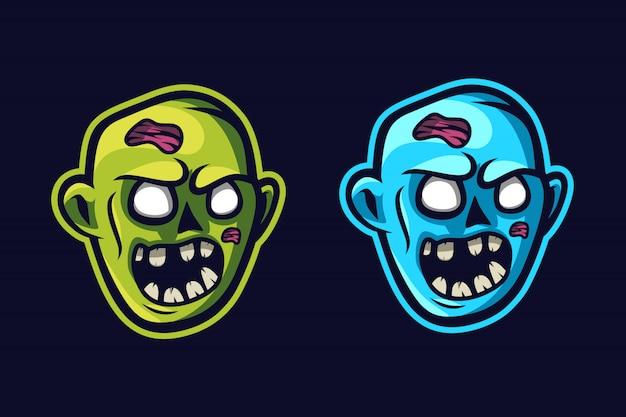 Zombie gezicht mascotte logo Premium Vector