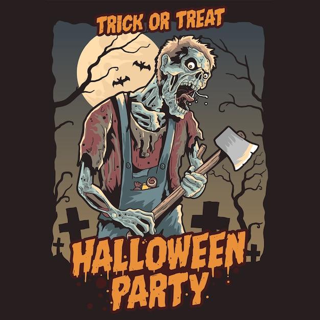Zombie halloween pary Premium Vector