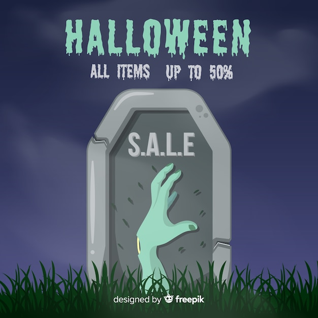 Zombie hand halloween verkoop Gratis Vector