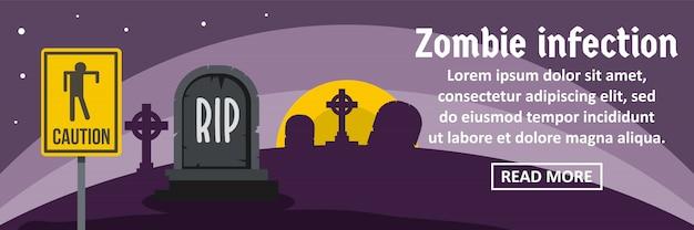 Zombie infectie banner sjabloon horizontale concept Premium Vector