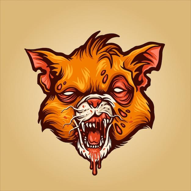 Zombie kat illustratie Premium Vector