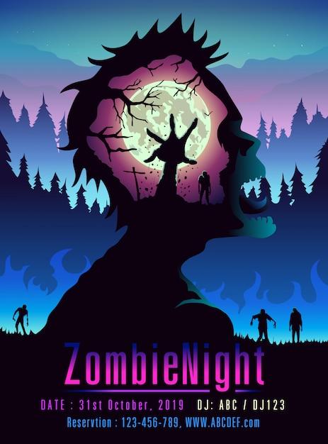 Zombie night poster-sjabloon in dubbele belichtingsstijl ideaal voor media van evenement of feest. Premium Vector