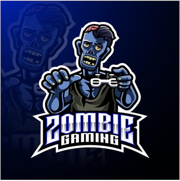 Zombie ondoden mascotte logo sjabloon Premium Vector