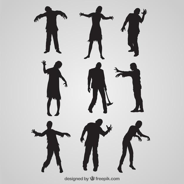 Zombie silhouet collectie Gratis Vector