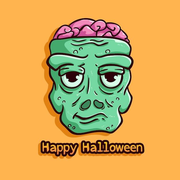 Zombie slechte uitdrukking met happy halloween-tekst op oranje Premium Vector