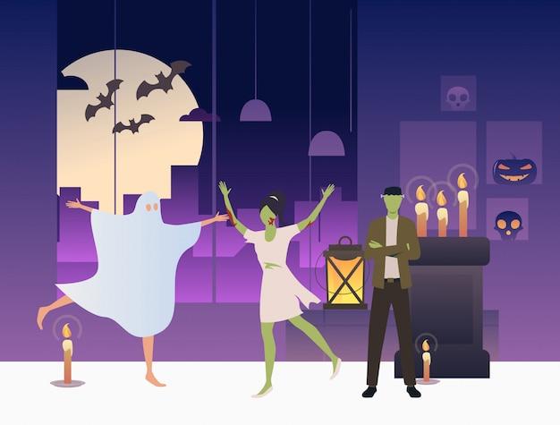 Zombies en spoken dansen in een donkere kamer Gratis Vector