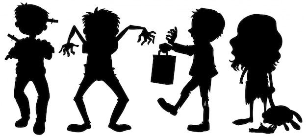 Zombies in silhouet in stripfiguur op witte achtergrond Gratis Vector