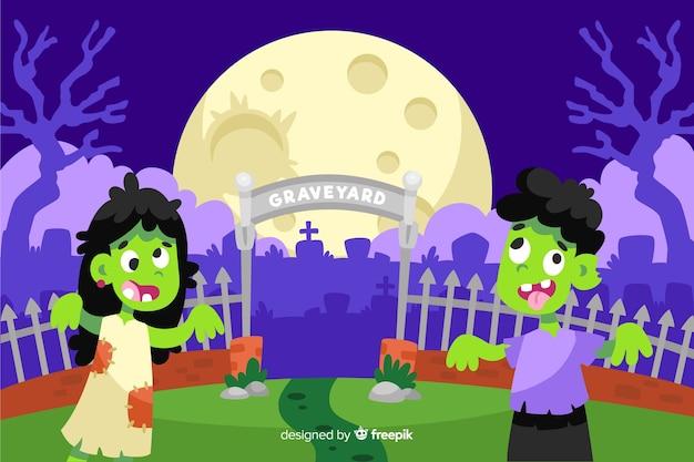 Zombies voor een achtergrond van begraafplaatshalloween Gratis Vector