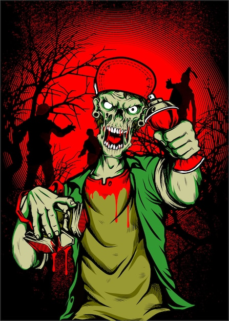 Zombieschedel die glb, hand geïsoleerde handtekening dragen ,. Premium Vector