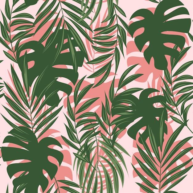 Zomer abstract naadloos patroon met kleurrijke tropische bladeren en planten op een delicate achtergrond Premium Vector
