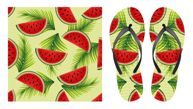 Zomer abstracte heldere naadloze patroon met plakjes watermeloen en palmbladeren. patroonontwerp voor afdrukken op flip-flops. Premium Vector