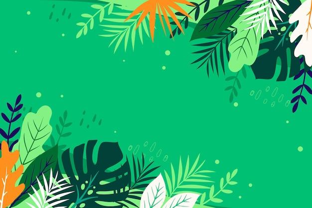 Zomer achtergrond met bladeren Gratis Vector