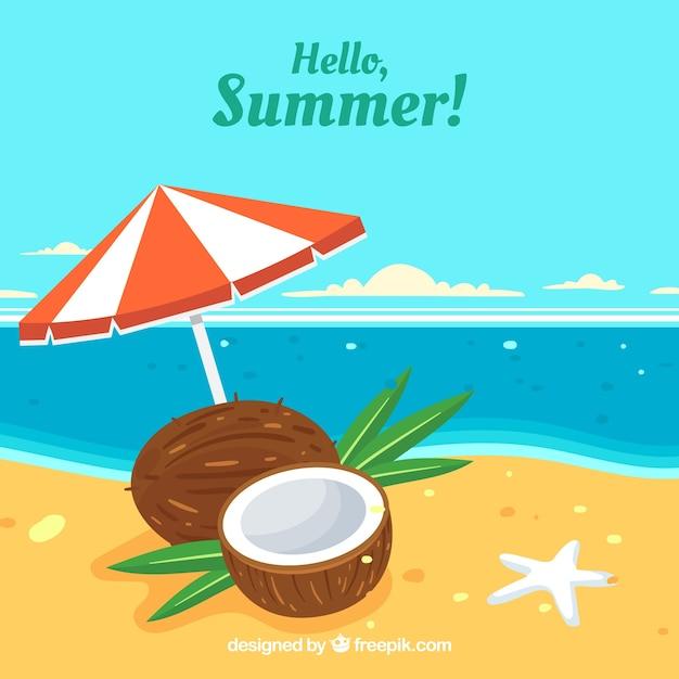 Zomer achtergrond met uitzicht op het strand en kokosnoot Gratis Vector