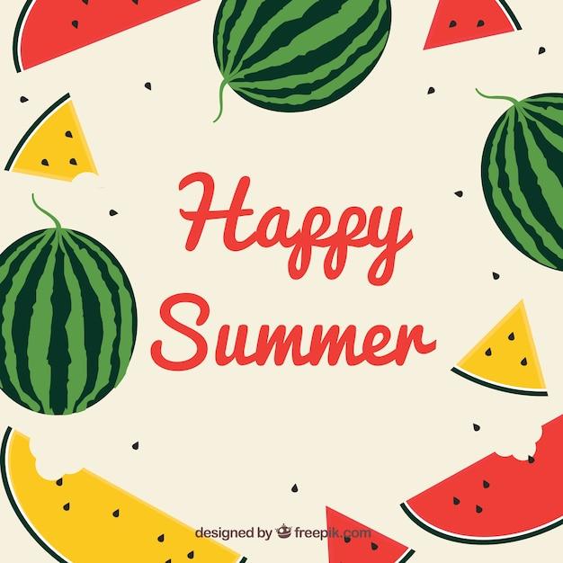 Zomer achtergrond met watermeloenen in vlakke stijl Gratis Vector