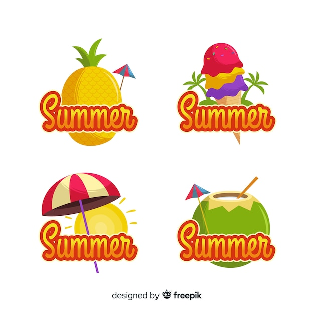 Zomer badge collectie Gratis Vector