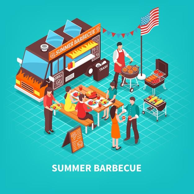 Zomer barbecue isometrische illustratie Gratis Vector