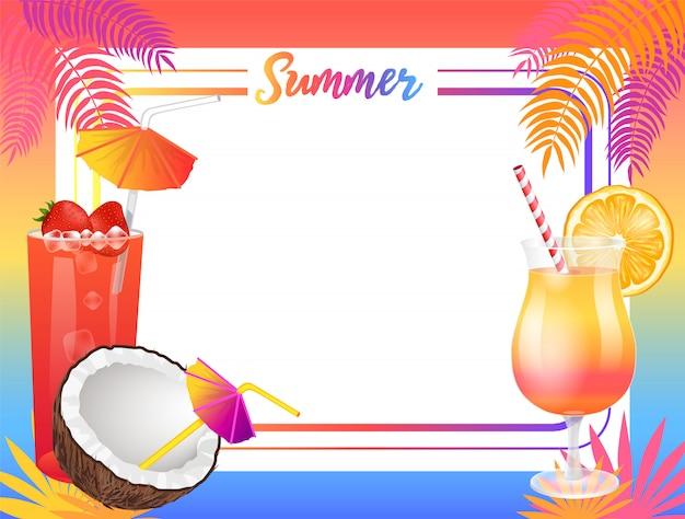 Zomer beach party achtergrond, vector plakkaat monster Premium Vector
