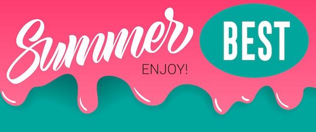 Zomer, beste, geniet van letters op druipende verf. zomeraanbieding of verkoopreclame Gratis Vector