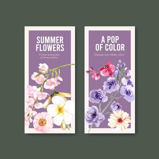Zomer bloem flyer sjabloon ontwerp aquarel Gratis Vector