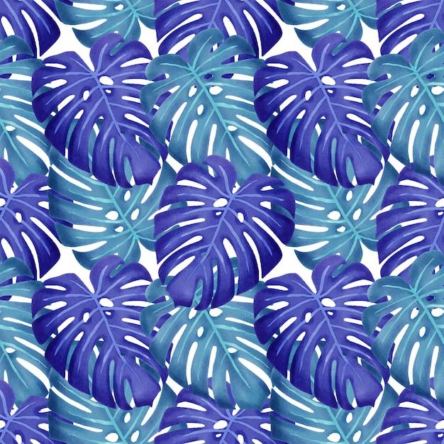 Zomer bloemen aquarel verlaat naadloze patroon Premium Vector