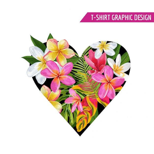 Zomer bloemen hart tropische bloemen ontwerp Premium Vector