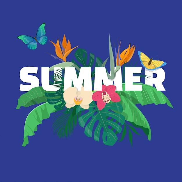 Zomer bloemensamenstelling met tropische bladeren, bloemen en vlinders op blauwe achtergrond. illustratie Premium Vector