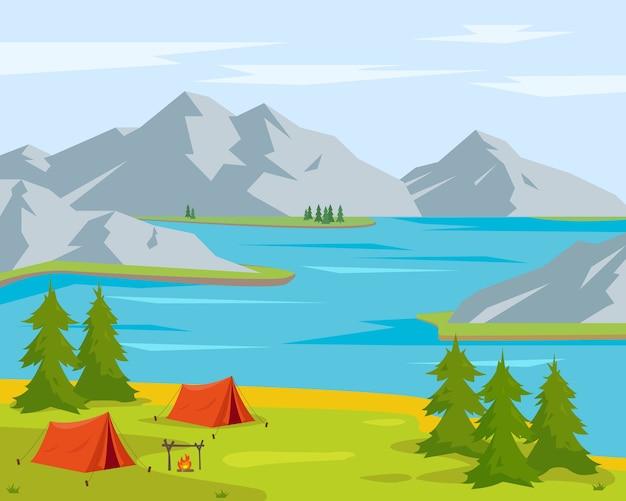 Zomer camping landschap. meer of rivier, bomen, orande kampeertenten en bergen. tijd om concept te reizen. achtergrond afbeelding. Premium Vector