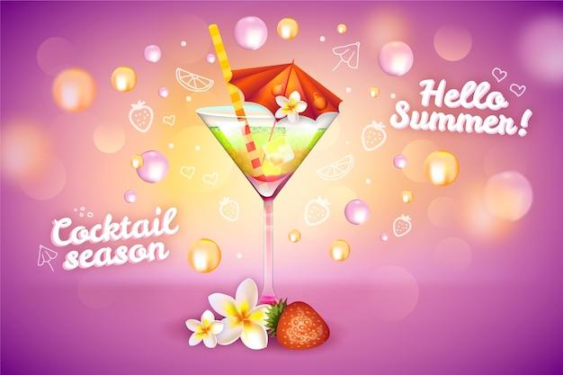 Zomer cocktail drankje advertentie Gratis Vector