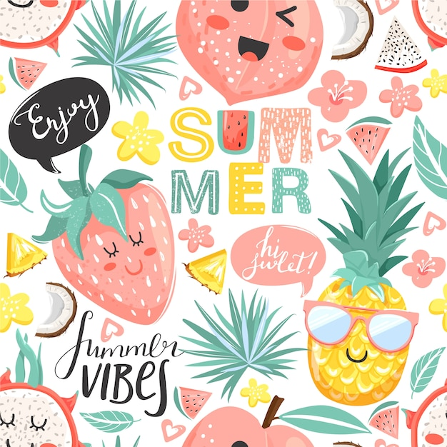 Zomer collage. naadloos patroon met ananas, perzik, aardbei, draakfruitkarakters met kawaiigezicht. bloemen, bladeren en belettering. Premium Vector