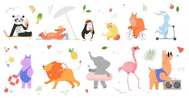Zomer dieren illustratie set. cartoon hand getekend animalistische collectie met gelukkige dierentuin dierlijke karakters genieten van de zomer, panda pinguïn papegaai haas hond lama nijlpaard leeuw olifant flamingo Premium Vector
