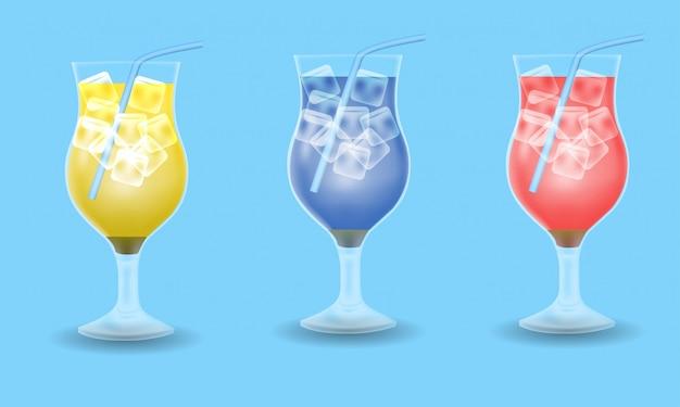 Zomer drankje set decoratie, geel, blauw en rood drankje op blauwe achtergrond Premium Vector