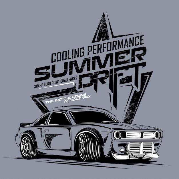 Zomer drift koeling prestaties, illustratie van super extreme drift auto Premium Vector
