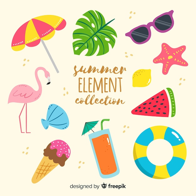 Zomer element collectie Gratis Vector