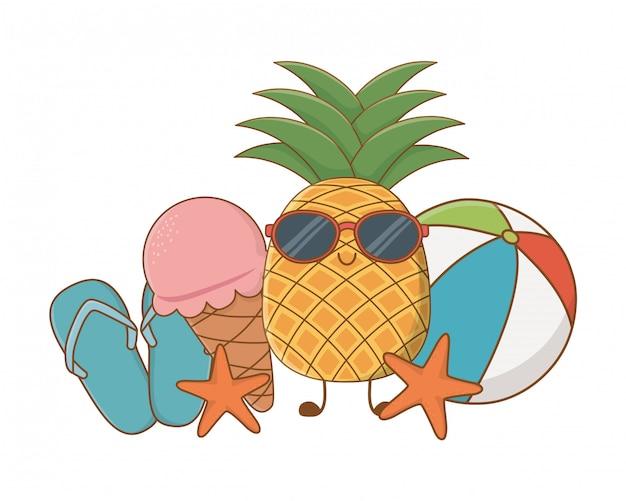 Zomer en fruit grappige tekenfilms Premium Vector