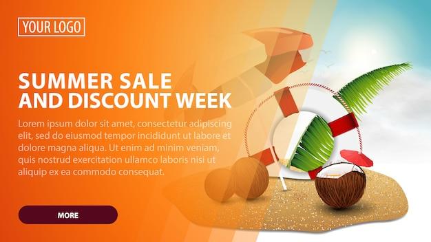 Zomer- en kortingsweek, creatieve oranje kortingswebbanner voor uw kunst Premium Vector