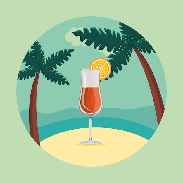 Zomer en reizen, cocktail in het paradijs in een cirkel Gratis Vector