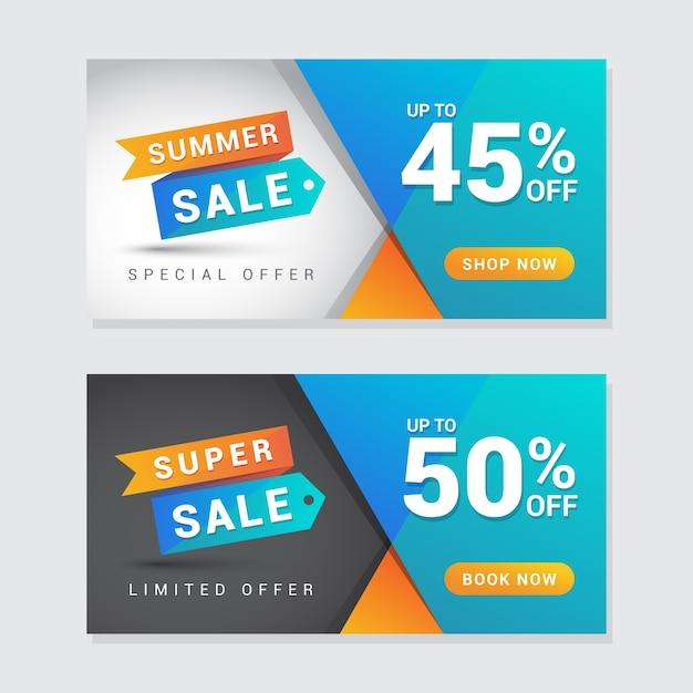 Zomer en super verkoop banner Premium Vector