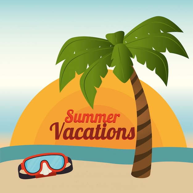 Zomer en vakanties, palm- en duikbril op het strand Gratis Vector