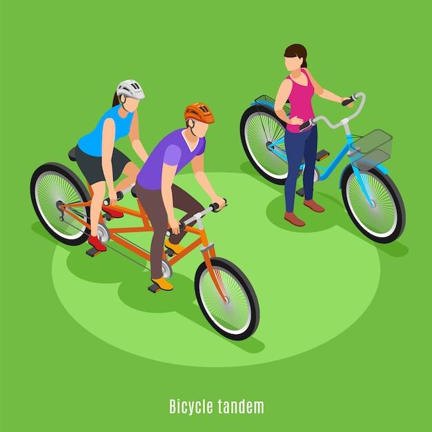 Zomer familie vakantie isometrisch met vader en dochter rijden op fiets achter elkaar vectorillustratie Gratis Vector