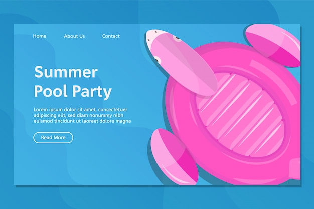 Zomer flamingo float landing page vector Premium Vector
