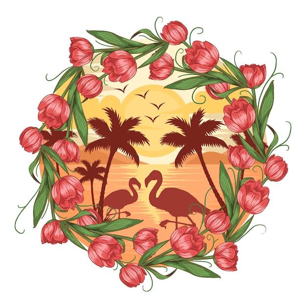 Zomer flamingo strandgezicht met kokosboomboom en bloemvector Premium Vector