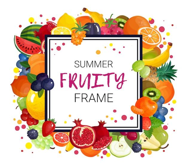 Zomer fruit frame achtergrond Gratis Vector